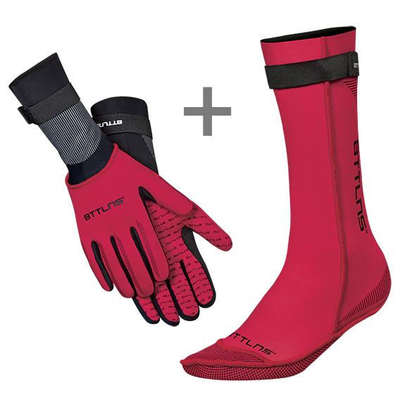 BTTLNS Neopreen zwemsokken en zwemhandschoenen voordeelset rood  0120011+0120012-003