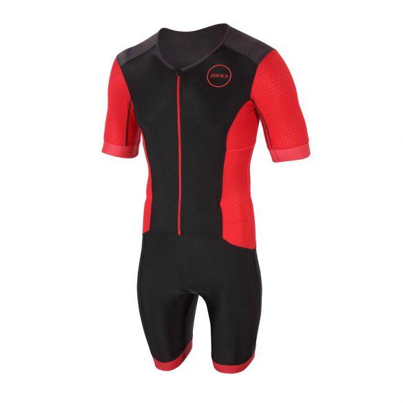 Zone3 Aquaflo plus korte mouw trisuit zwart/rood heren  TS20MAQPS101